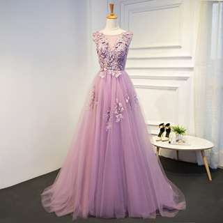 Gown Collection - Romantic Sweet Purple Lace Gown