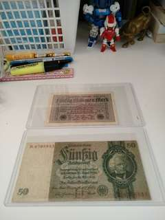 1924 Old German banknote x2