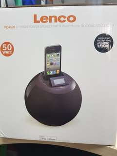 LENCO IPD4600 high power speaker with iPhone/ipod docking station in black