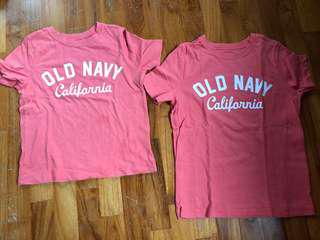 Old Navy tshirt for 3 and 5 yearnold
