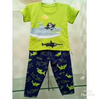 Kaos Anak Celana Panjang Motif Pirate Shark Lucu