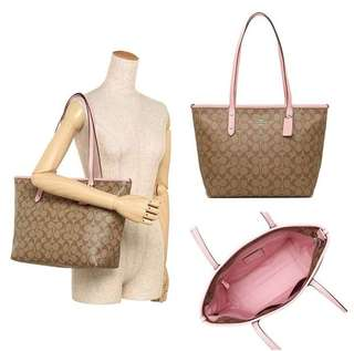 COACH CITY ZIP TOTE 29-40x26x14CM KHAKI/BLUSH