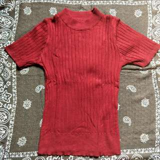Ribbed top-Red (knitted)