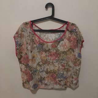 Floral See Through Semi Cropped Top