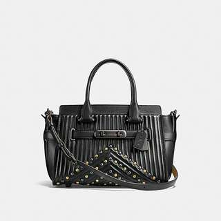 Coach Swagger 27 With Quilting And Rivets  BLACK/BLACK COPPER