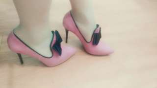 🚚 BIGTREE韓款甜美蝴蝶結絨面深口細跟高跟鞋39碼(偏小一碼)(Heels)