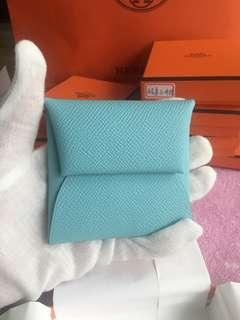 全新專櫃正品 Hermes 愛馬仕零錢包 tiffany 藍/玫瑰糖果粉 各一個
