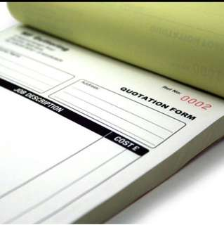 Printing of A4 NCR Bill Book / Invoice Single Color (min 10 pads)