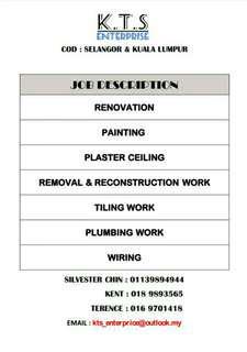 Renovation,tiles,wiring,plumbing,painting work