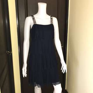 Navy blue ruffled dress