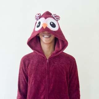 Rue21 Burgundy Owl Hood Character Onesie