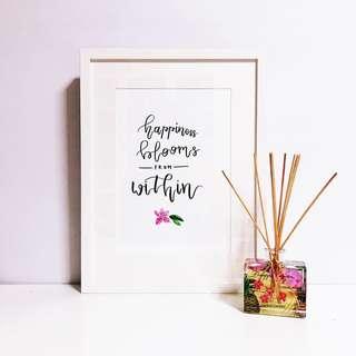 Calligraphy + Flower Hand-Drawn Original Artpiece