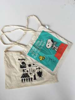 Starwars vs snoopy Tote beg combo