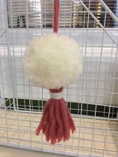 White and reddish pom pom (handmade)
