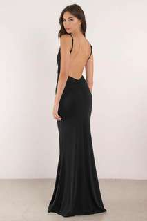 backless black formal dress