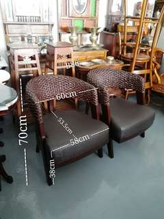 B86 -Retro Backrest Rattan Sofa Chairs x 2 pcs