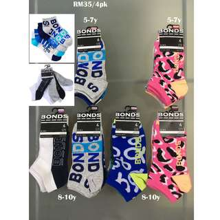 Bonds 4-Pk Socks for 5-7y 8-10y