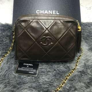 Vintage Chanel啡色羊皮流蘇camera bag 23x17x6cm