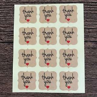 🚚 Free Postage - 72 Kraft Stickers - Thank You Stickers