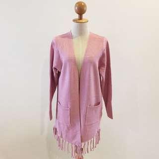 🆕BRAND NEW Elegant Fringe Knit Pink Long Cardigan