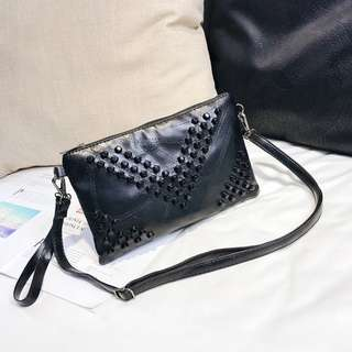 Women Embossed Beads Black Party Bag Envelope Handbag Ladies Fashion Clutch Bag [Small/Big]