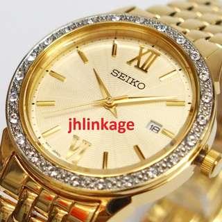 Seiko Quartz Lady Swarovski Crystal Watch SUR688P1
