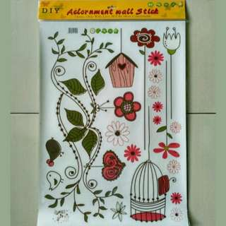 stiker dinding flower bird cage AY7102