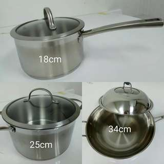Stainless Steel Wok Pot Set (3 unit)