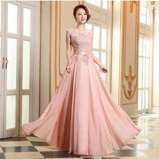 Gown Collection - Sweetie Pink Embroidered Lace A Lining Gown