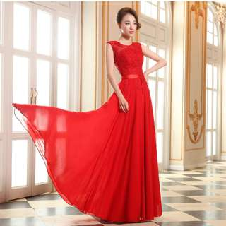 Gown Collection - Blossom Red Embroidered Lace A Lining Gown