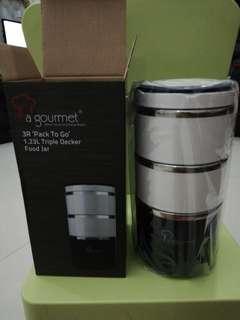 La gourmet 3R pack to go 1.23L triple decker food jar