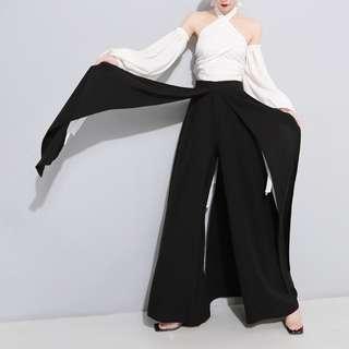 VM 度假風 飄帶絲滑墜感 大氣 黑色顯瘦雪紡闊腿長褲