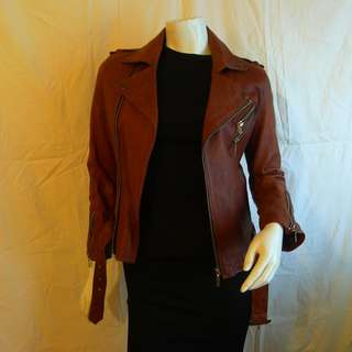 FIRE (London) Chocolate Aniline Leather Biker Jacket