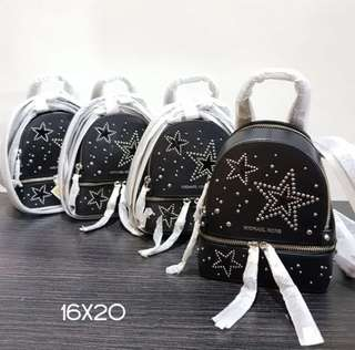 mk rhea mini backpack star black