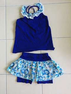 2 pcs shirt and skirt with pants