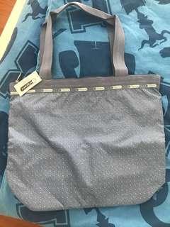 Lesportsac 全新粉藍白波點tote bag