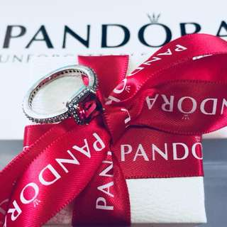 Pandora Red Timeless Elegance Ring with Zirconia Stones 92.5 Sterling Silver (Available Sizes 5-9)