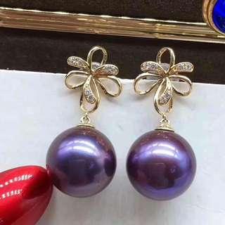 🆕️18K金11-12mm濃郁紫愛迪生耳環,正圓強光幾乎無暇。