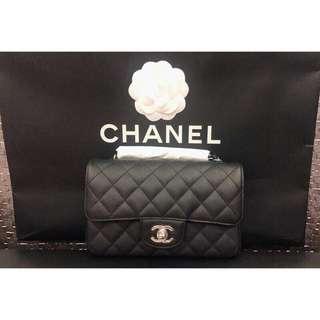 Chanel mini coco cf 20cm 黑銀