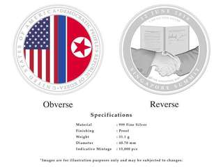 Trump Kim summit medallion coin 2nd issue SILVER