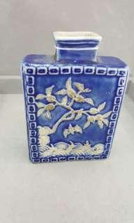 藍釉反口扁瓶
