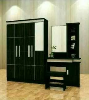 Lemari 3 pintu cermin set Meja rias minimalis