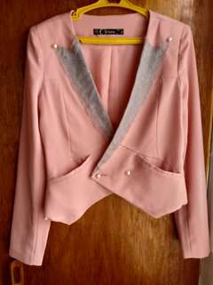 Pink blazer with gray lace details