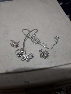Take All Silver - Butterfly Earrings and Necklace