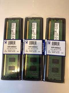 Kingston RAM - 2GB KVR13N9S6/2 DDR1333 Non ECC Memory x 3
