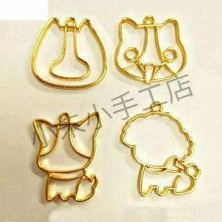 [PO] Kawaii Dogs Pendant Bezel UV Resin DIY Metal Frame Handmade Cute Teddy Key Charms Jewelry Base Setting Accessories {4 Pieces Mix}