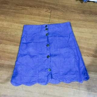 Scallop denim button-down skirt