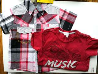 NEW Red Checks Short Sleeves Shirt & PRELOVED Red T-shirt - Bundle Set of 2