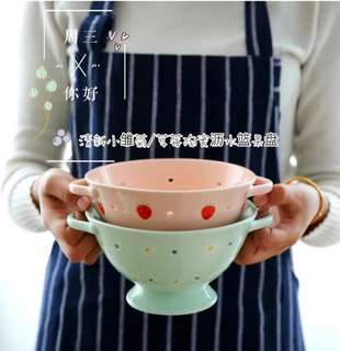 清新小雏菊/草莓陶瓷沥水篮果盘 <Daisy Flower/Strawberry Ceramic Colander Fruit Bowl>