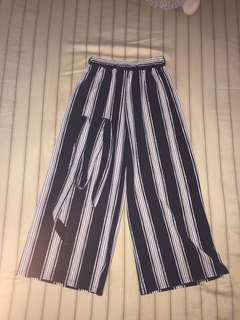 black striped culottes with belt